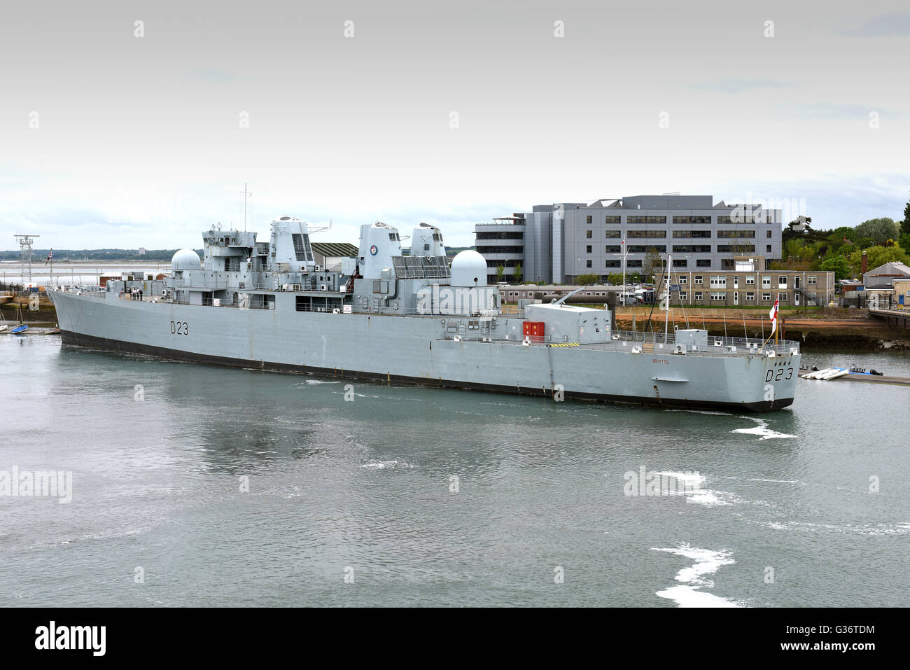 HMS Bristol D23 Type 82 destroyer ship Portsmouth Naval Base harbour in Hampshire England Uk - Stock Image