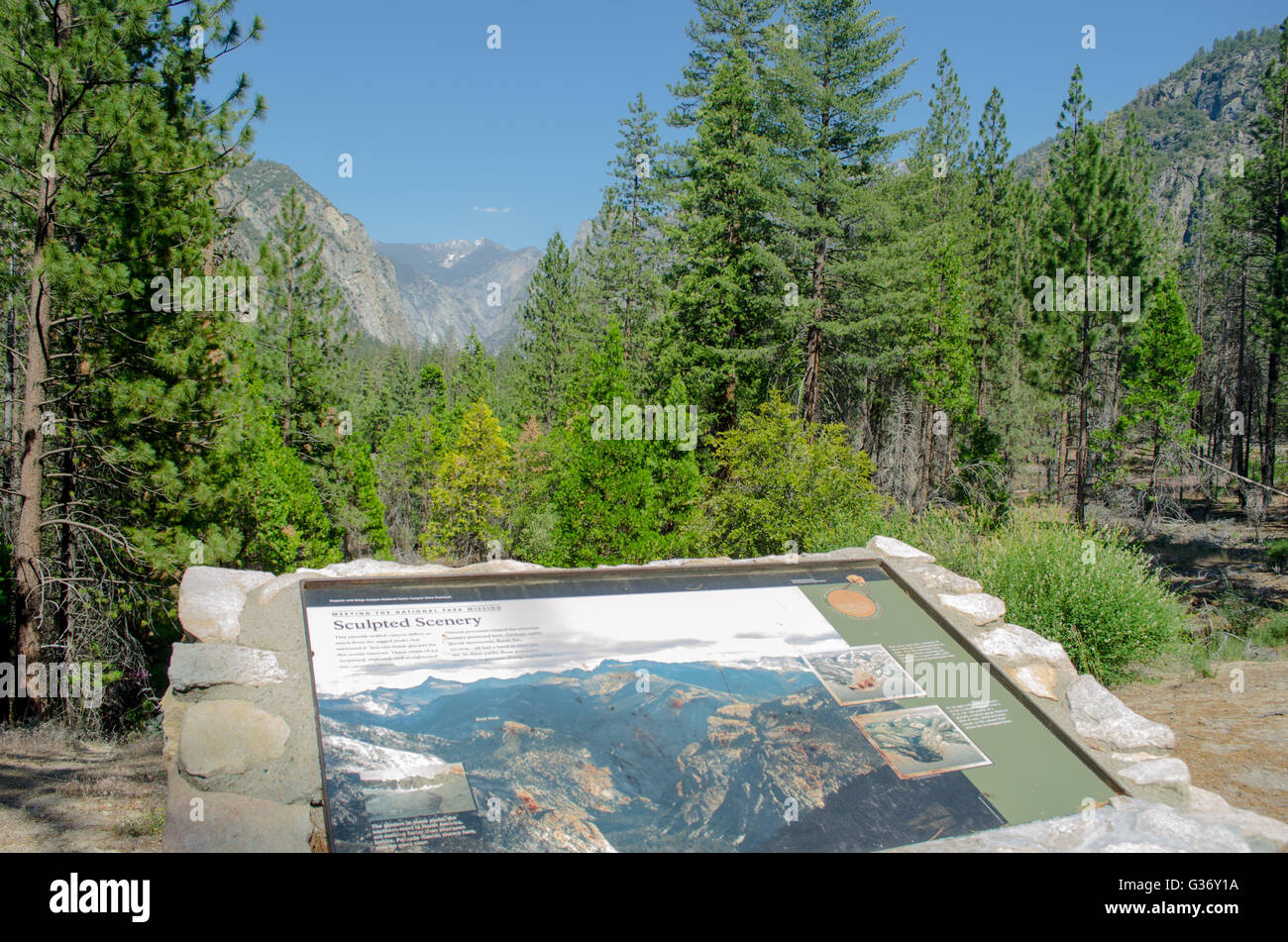 Scenic view from Highway 180 into Kings Canyon National Park Stock Photo