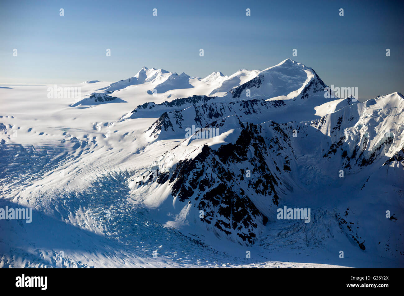 An aerial photo from the Chugach National Forest in Alaska USA. The Chugach National Forest is a 6,908,540-acre - Stock Image