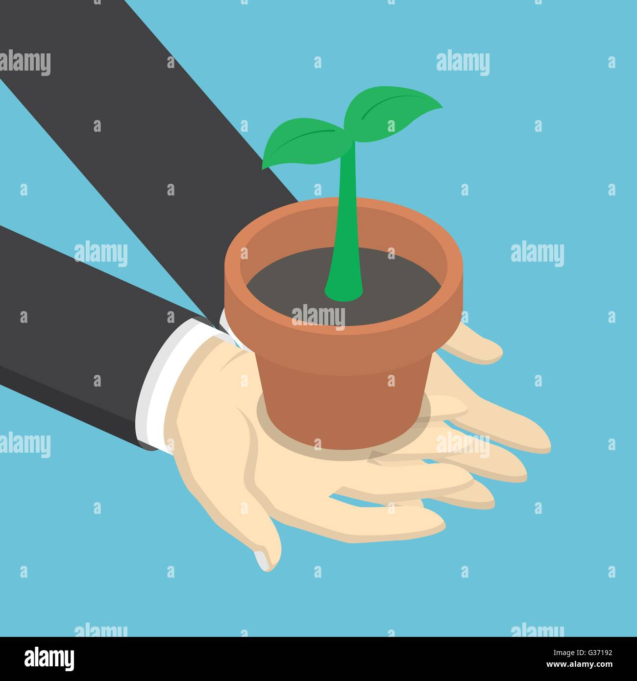 Isometric businessman holding sprout or little plant in his hands, business growth, ecology concept, VECTOR, EPS10 - Stock Image