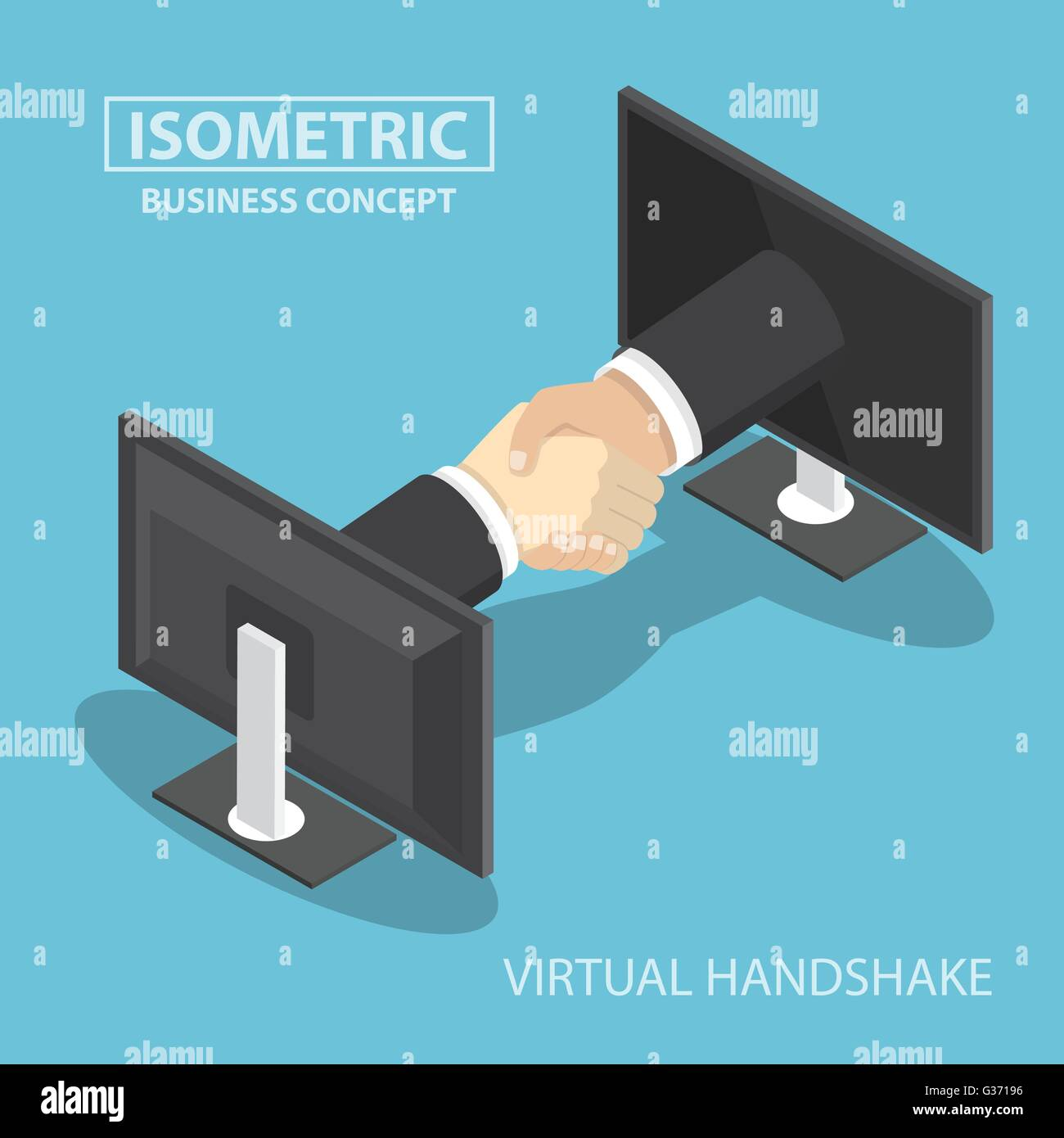 Isometric businessman hands reaching out from monitor screen to do handshake, internet working, wireless communication, - Stock Vector