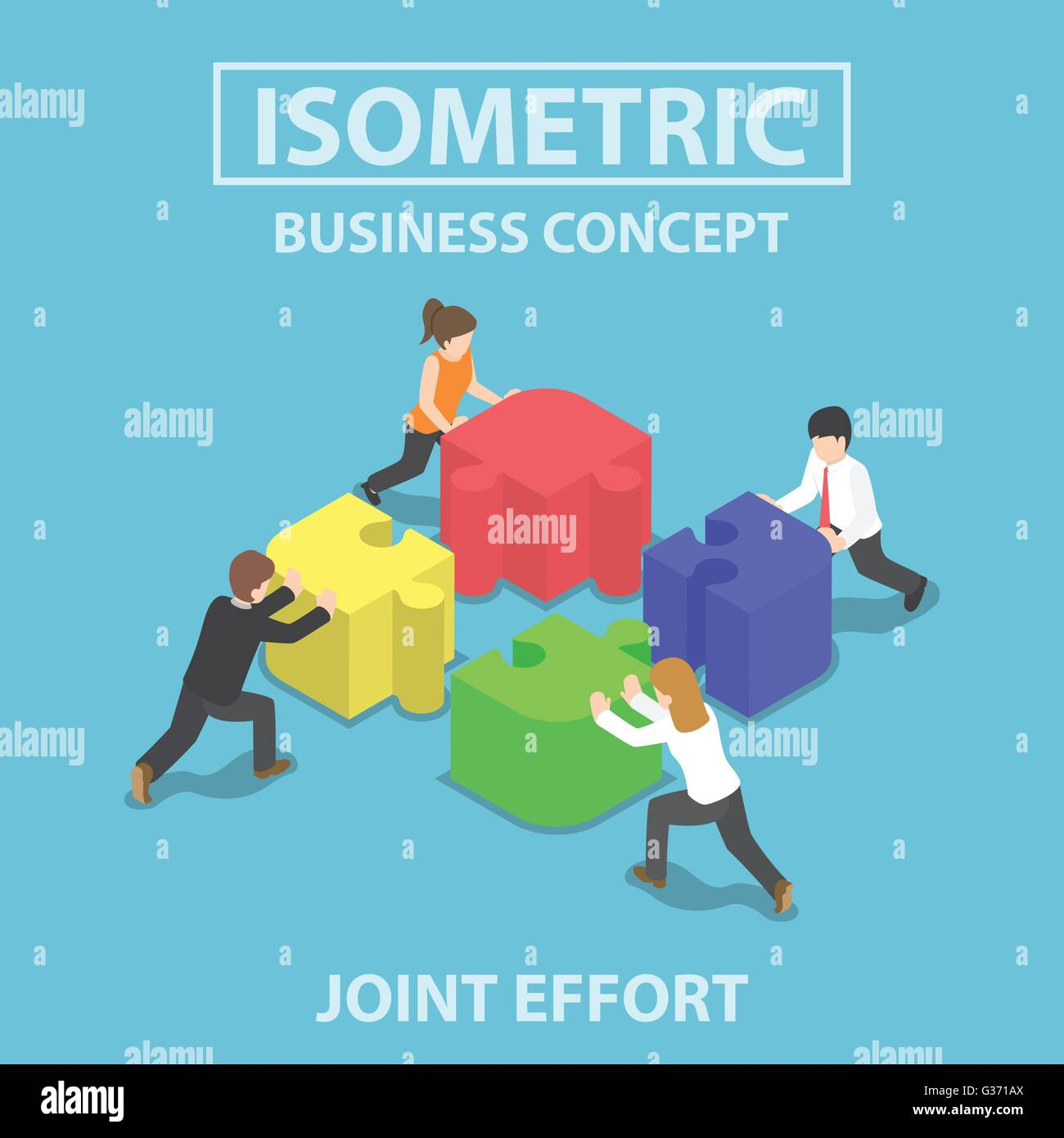 Isometric business people pushing and assembling four jigsaw puzzles, teamwork, collaboration, joint effort concept - Stock Image