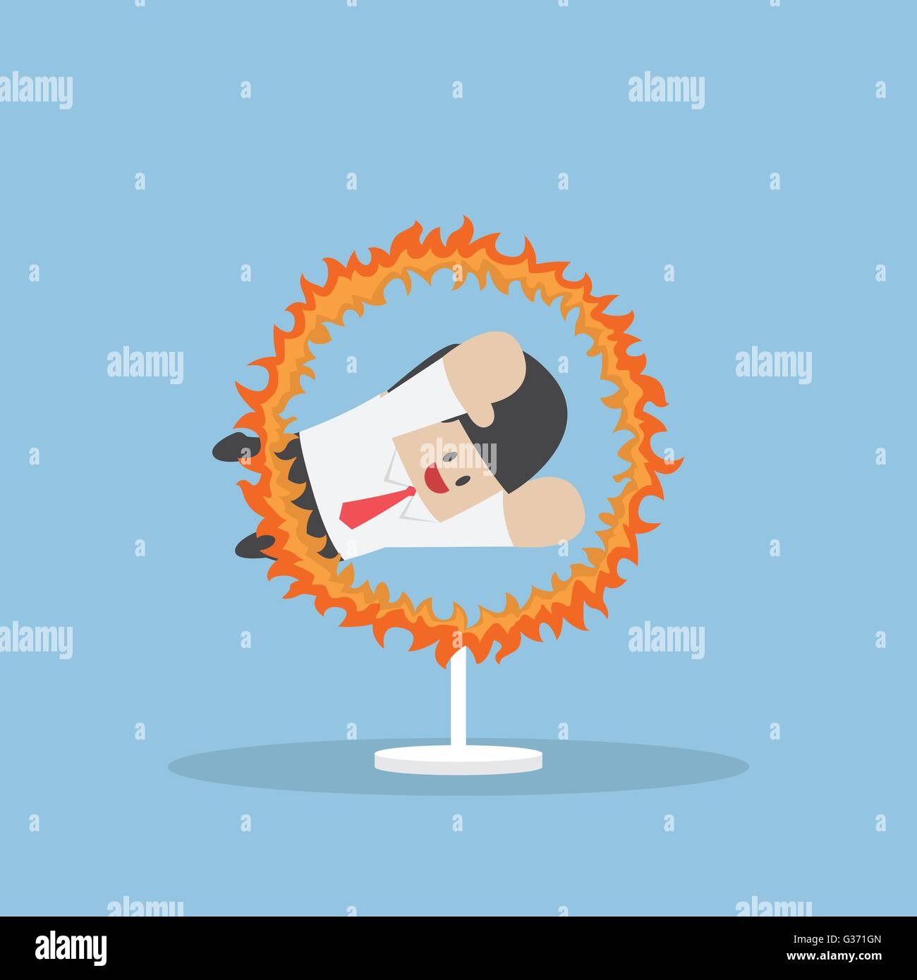 Businessman jumping through the fire hoop, VECTOR, EPS10 - Stock Image