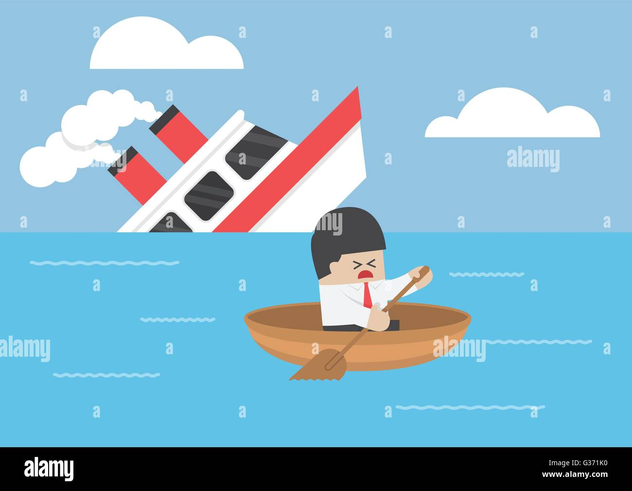 Businessman escape from the shipwreck, VECTOR, EPS10 - Stock Image