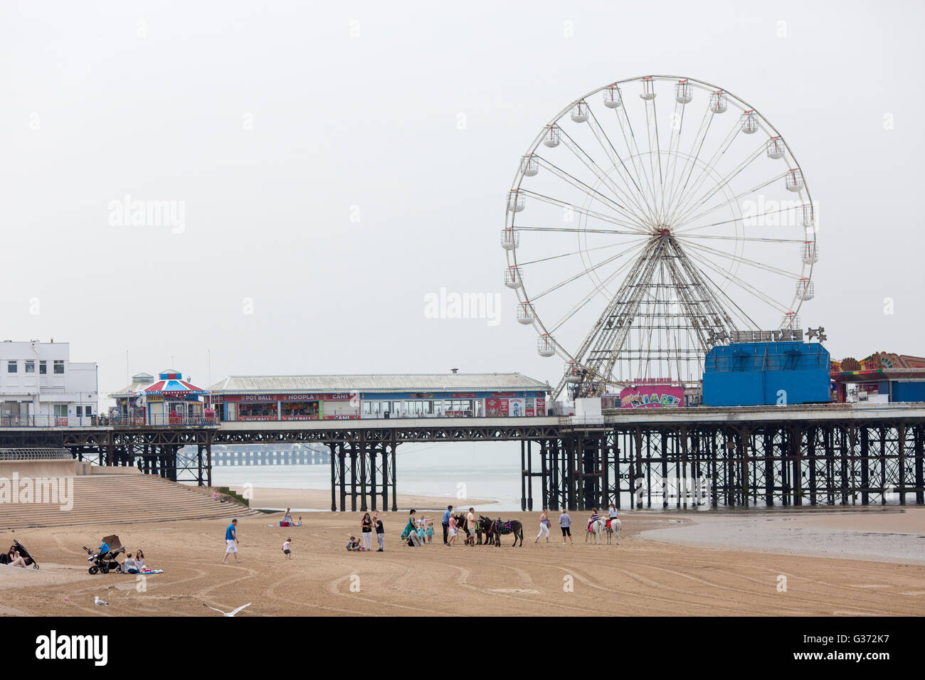 Warm weather at Blackpool , England , today (Tuesday 7th June 2016) A view of the beach and the Central Pier. - Stock Image