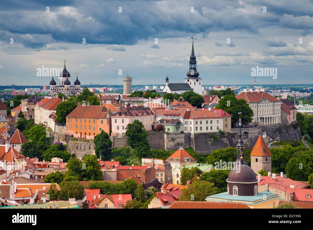 Tallinn. Aerial image of Old Town Tallinn in Estonia. Stock Photo