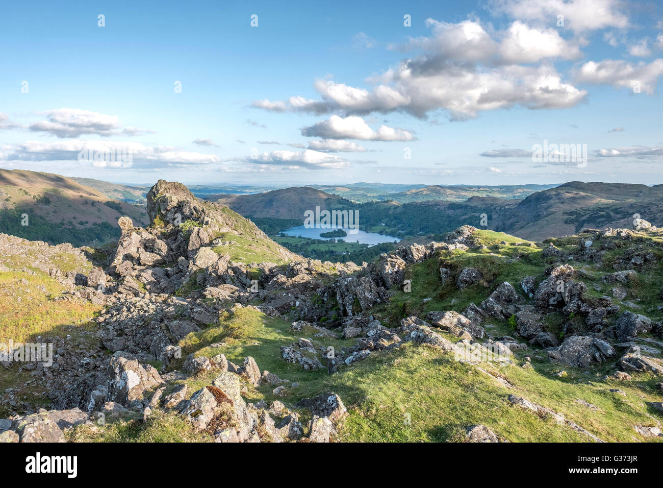 View from Helm Crag, looking towards Grasmere Village, in the English Lake District, Cumbria - Stock Image