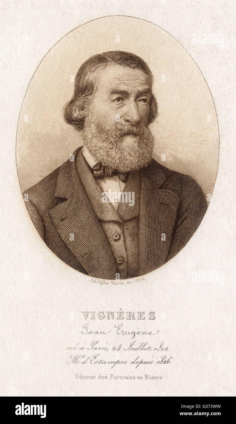 JEAN EUGENE VIGNERES Paris print dealer         Date: 1812 - ? - Stock Image