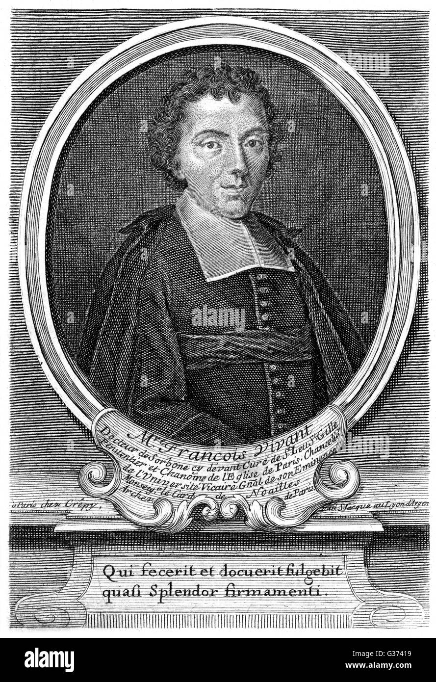 FRANCOIS VIVANT French churchman, theologian  at the Sorbonne, Paris.        Date: 18TH CENTURY - Stock Image