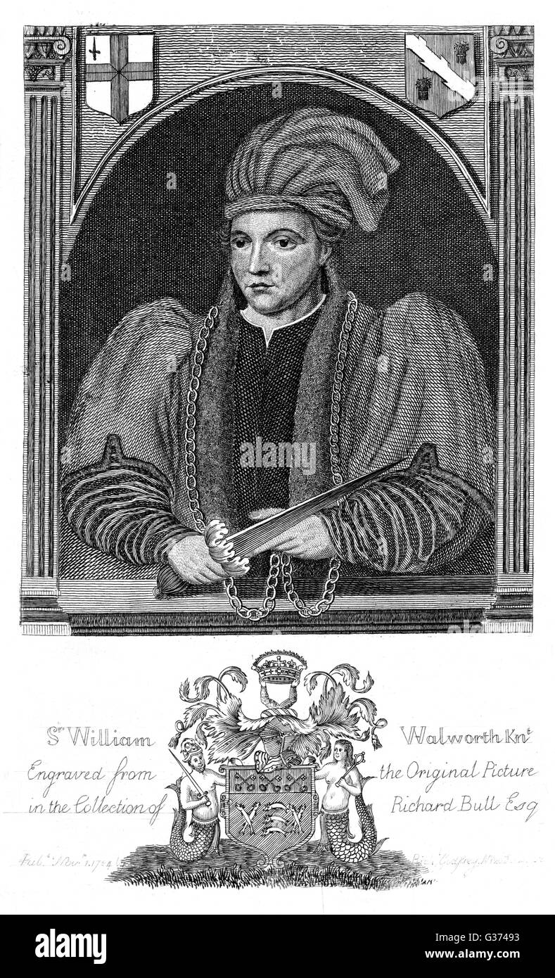 SIR WILLIAM WALWORTH wealthy fishmonger, lord mayor  of London, slayer of political  radical Wat Tyler, for which - Stock Image