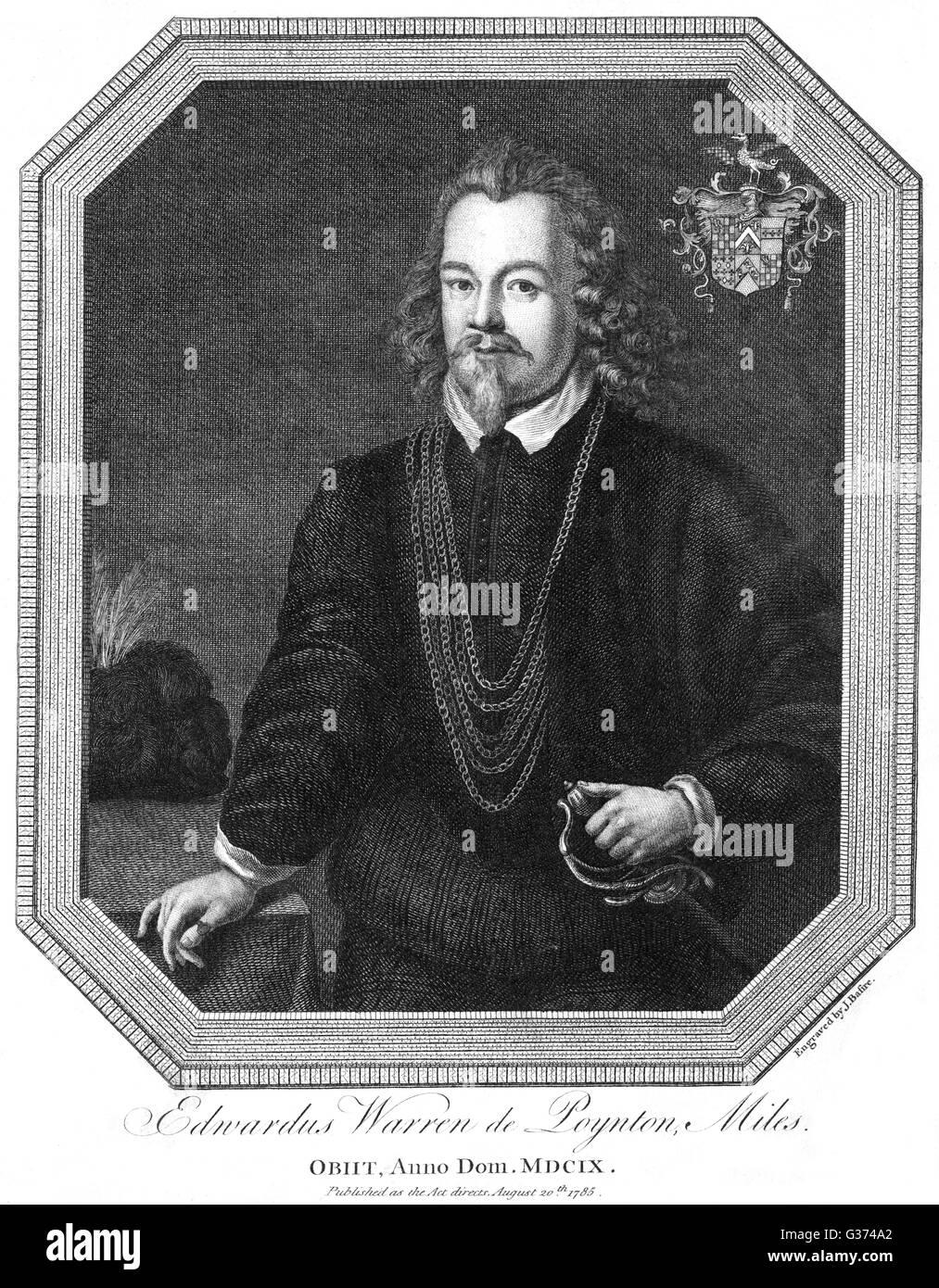 SIR EDWARD WARREN de POYNTON soldier, presumably the son of  Sir John Warren, of whom we  also have a portrait. - Stock Image