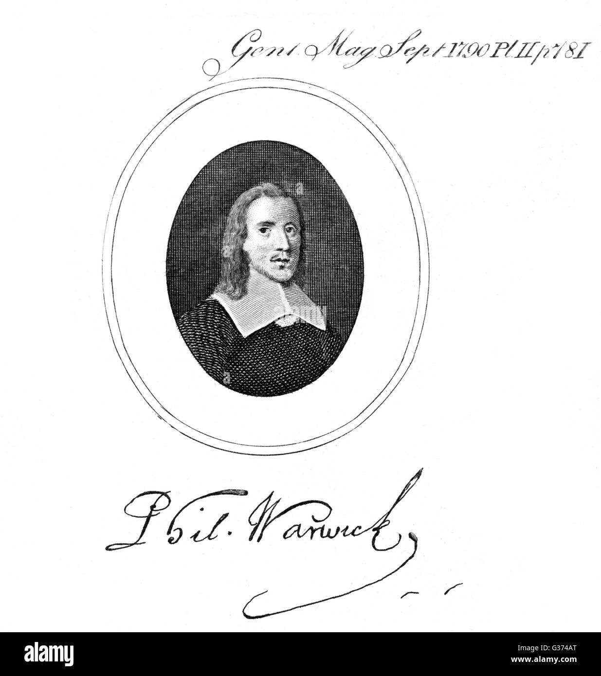 PHILIP WARWICK diplomat  with his autograph       Date: ? - 1683 - Stock Image