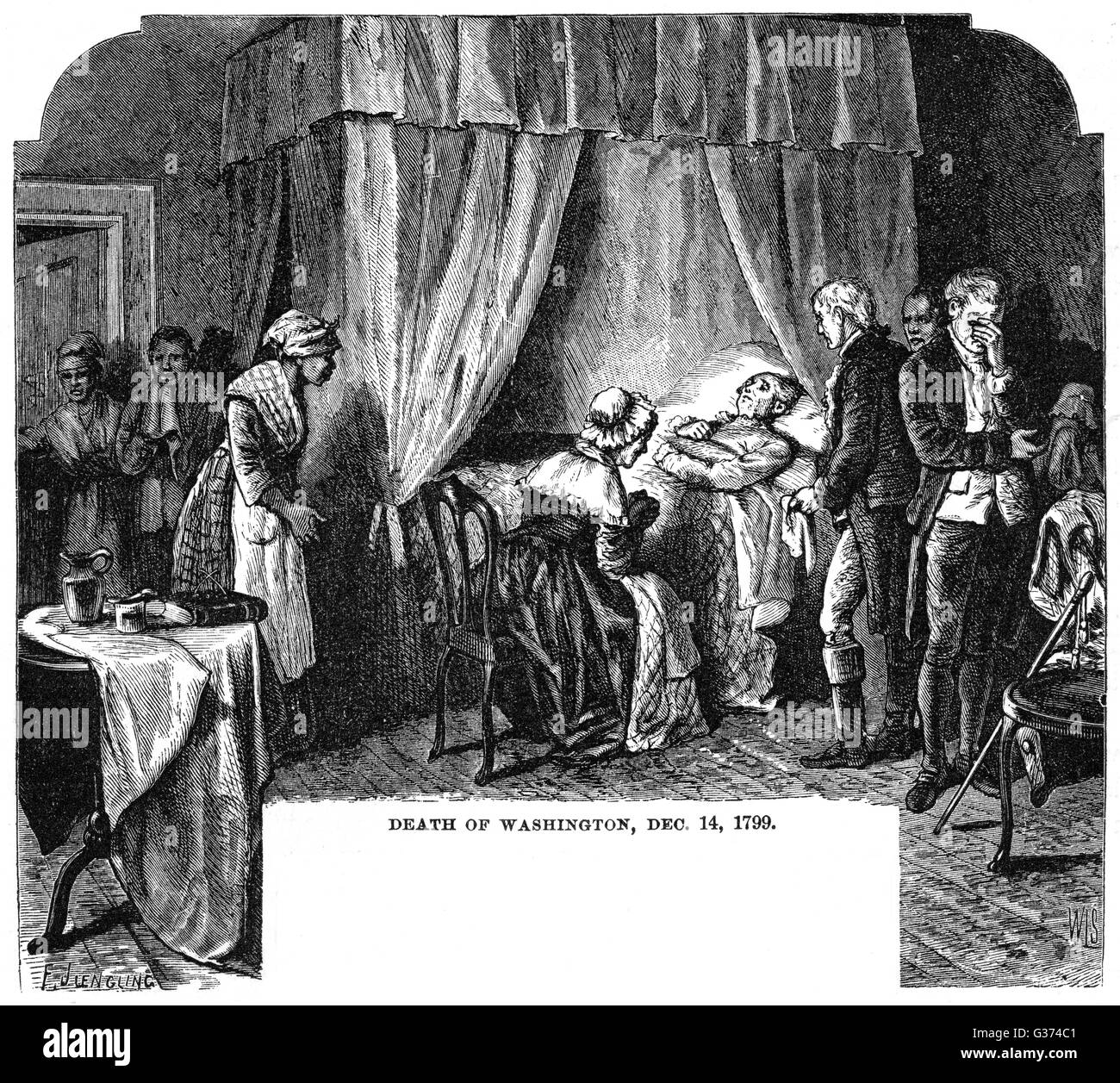 DEATH OF WASHINGTON          Date: 14 December 1799 - Stock Image
