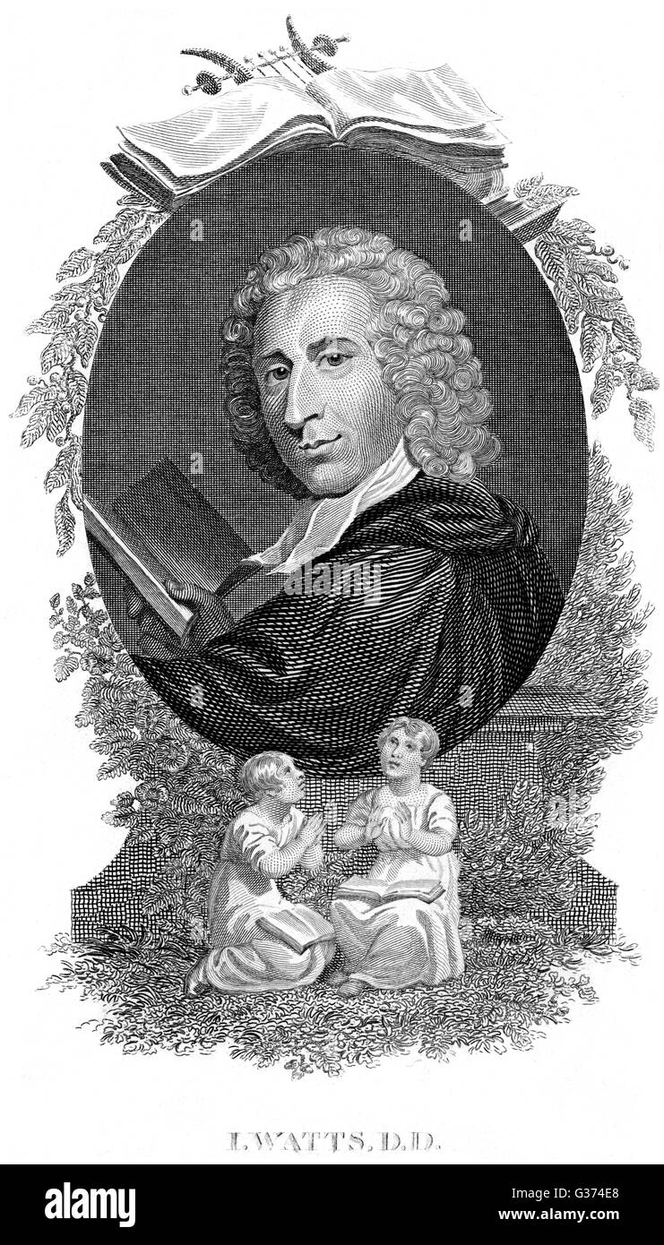 ISAAC WATTS churchman and writer of moral  and uplifting verses for the  infant mind...       Date: 1674 - 1748 - Stock Image