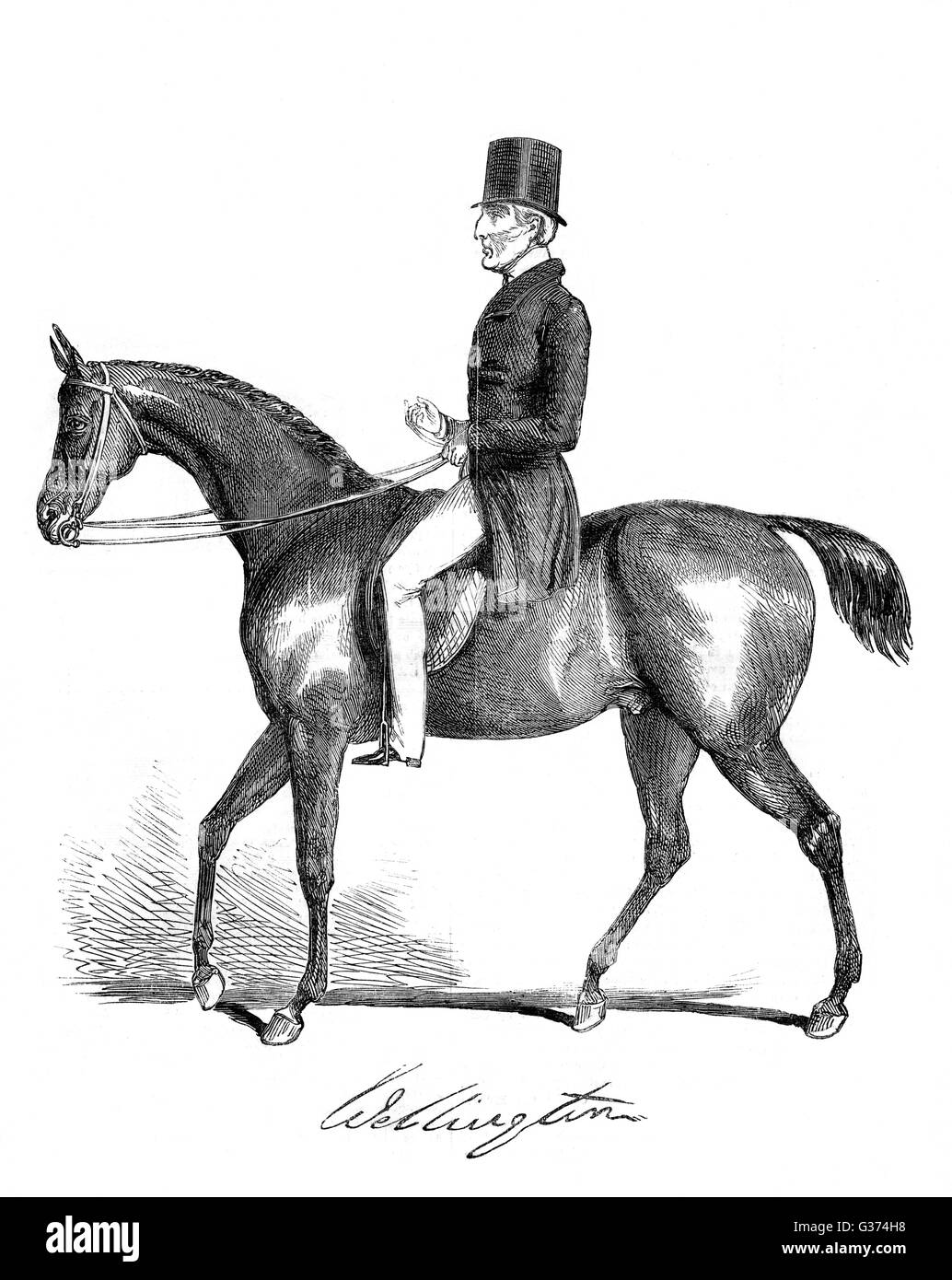 ARTHUR WELLESLEY, duke of  WELLINGTON soldier and statesman, riding  two years before his death       Date: 1769 - Stock Image