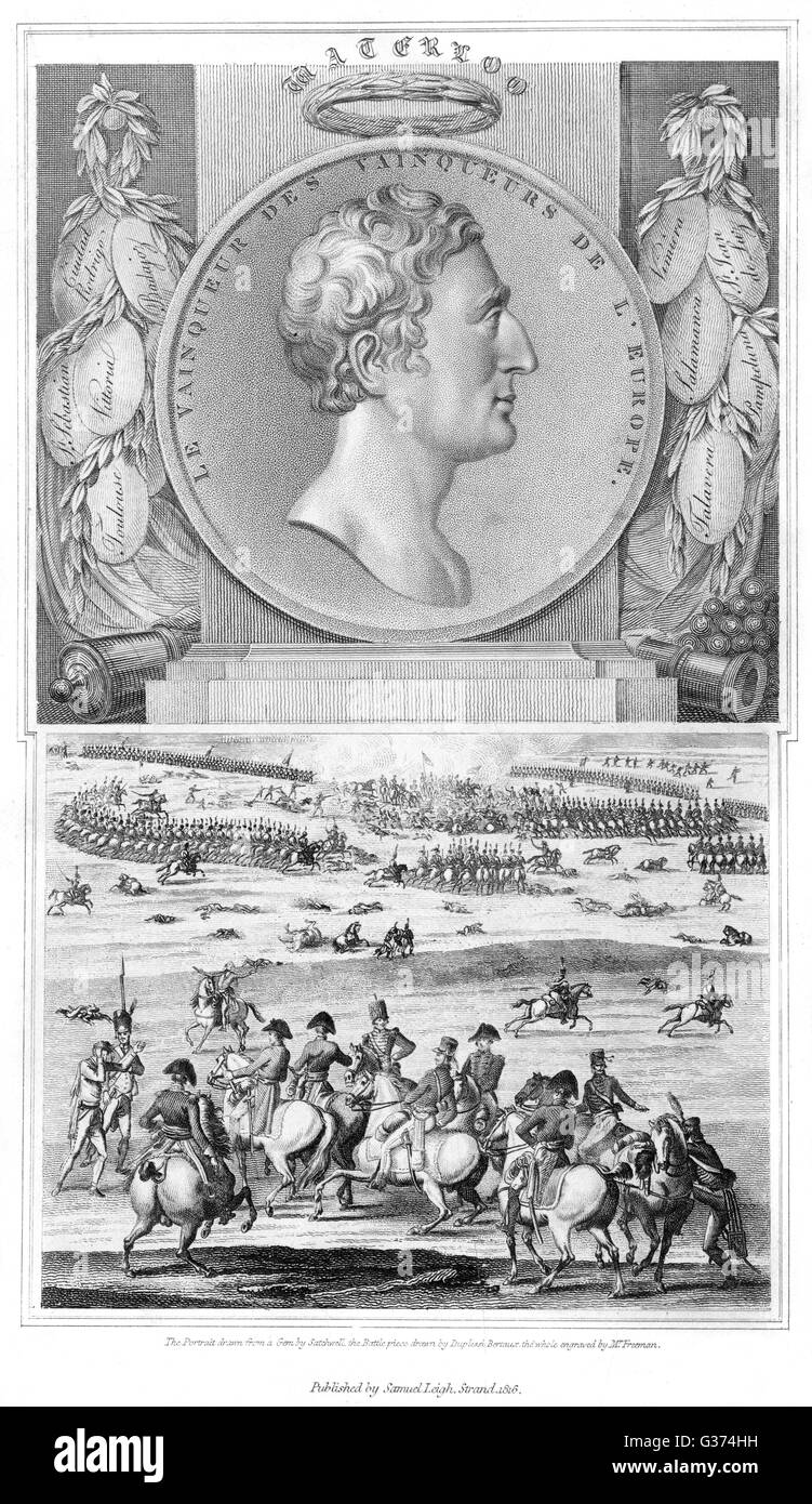 WELLINGTON as military hero -  labels bear the names of some  of his Peninsula victories,  and he is seen directing - Stock Image