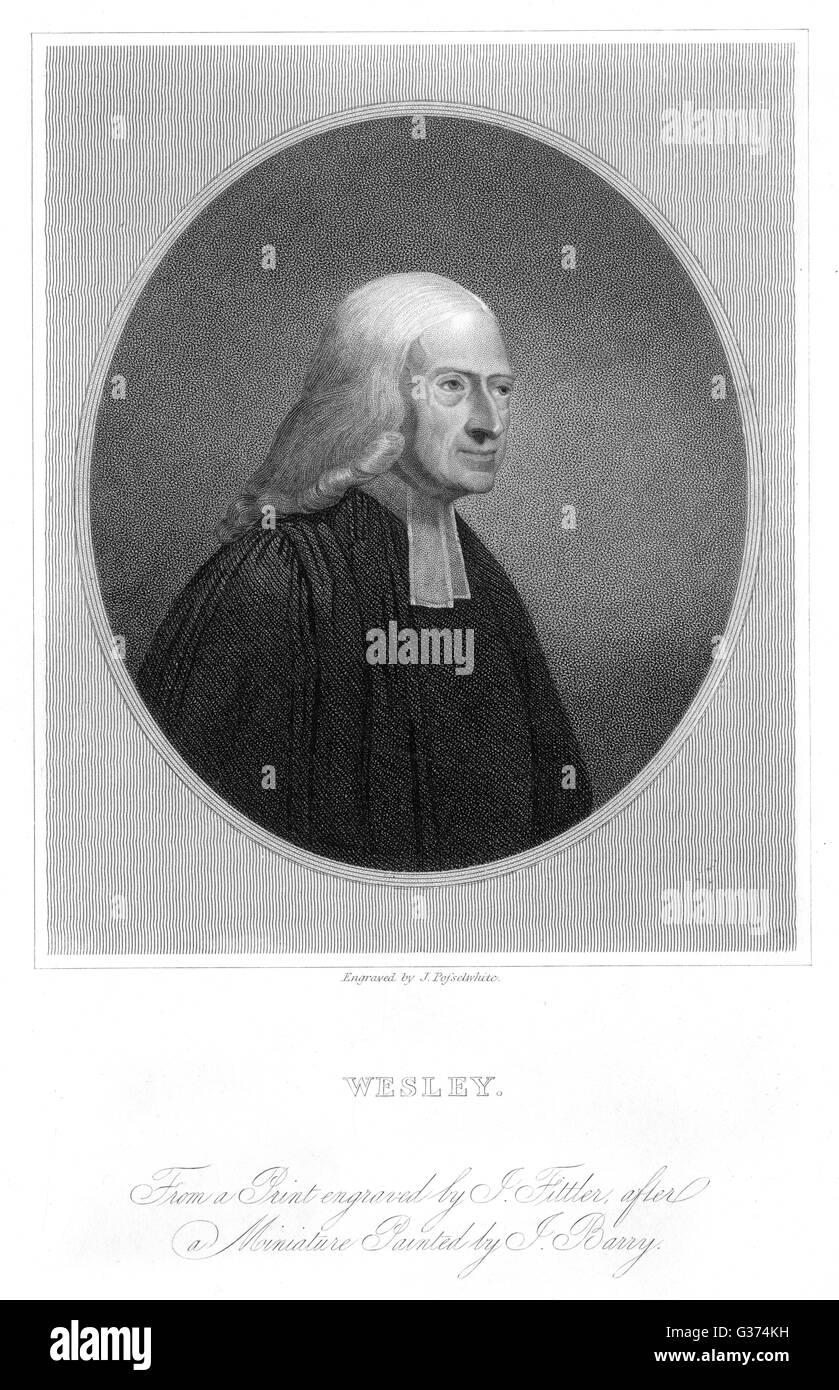 JOHN WESLEY churchman, creator of  Methodism        Date: 1703 - 1791 - Stock Image