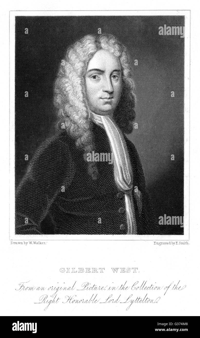 GILBERT WEST writer         Date: 1703 - 1756 - Stock Image