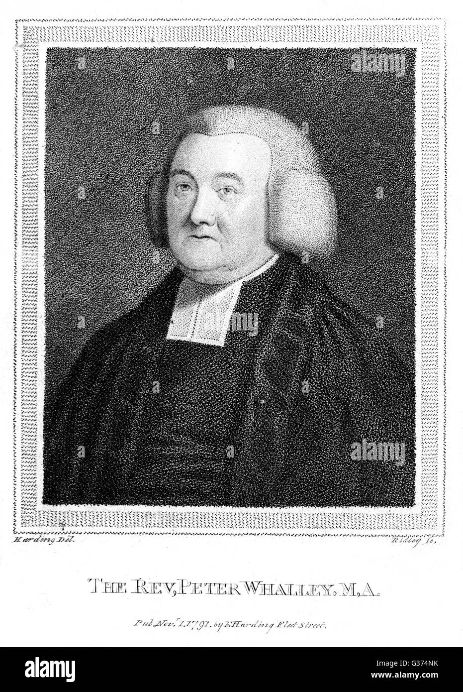PETER WHALLEY churchman and critic         Date: 1722 - 1791 - Stock Image