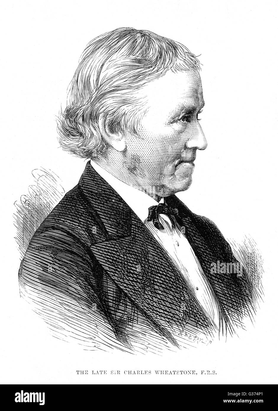 SIR CHARLES WHEATSTONE physicist and inventor,  instrumental in the electric  telegraph       Date: 1802 - 1875 - Stock Image