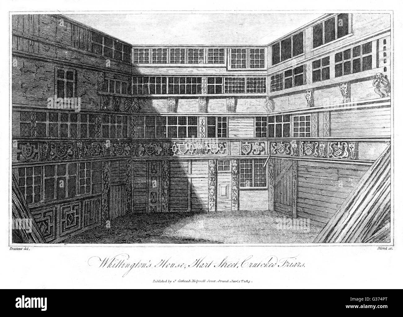 WHITTINGTON HOUSE, Hart  Street, Crutched Friars,  London - the reputed home of  Richard Whittington, Mayor of  - Stock Image