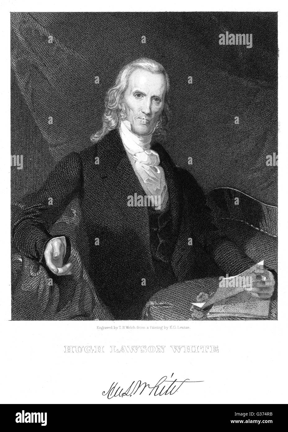 HUGH LAWSON WHITE American statesman and judge         Date: 1773 - 1840 - Stock Image