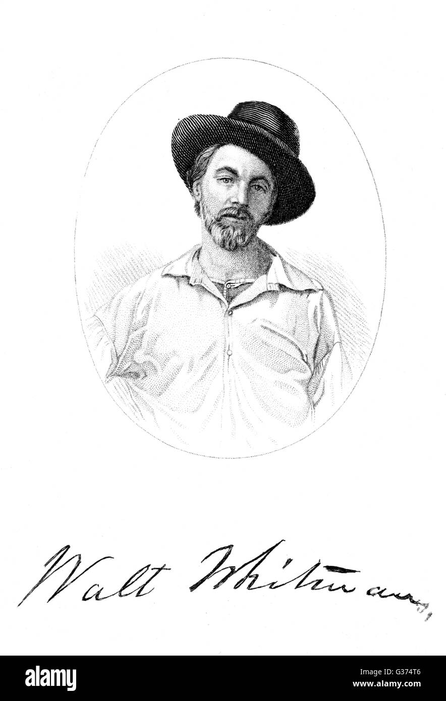 WALT WHITMAN American poet  with his autograph       Date: 1819 - 1892 - Stock Image