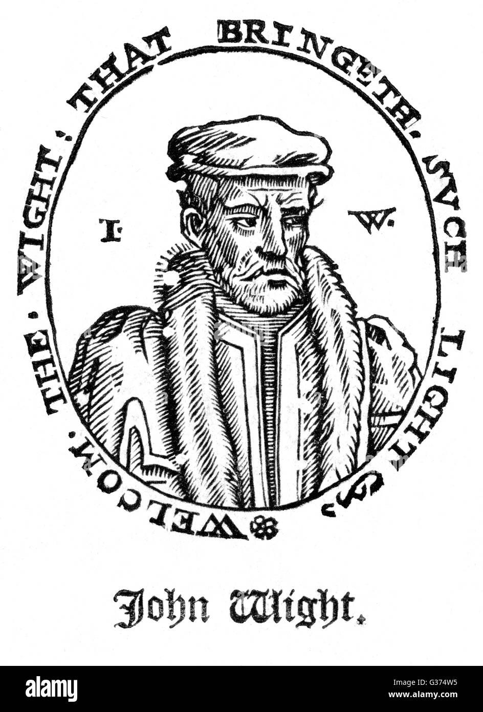 JOHN WIGHT printer         Date: circa 1550 - Stock Image