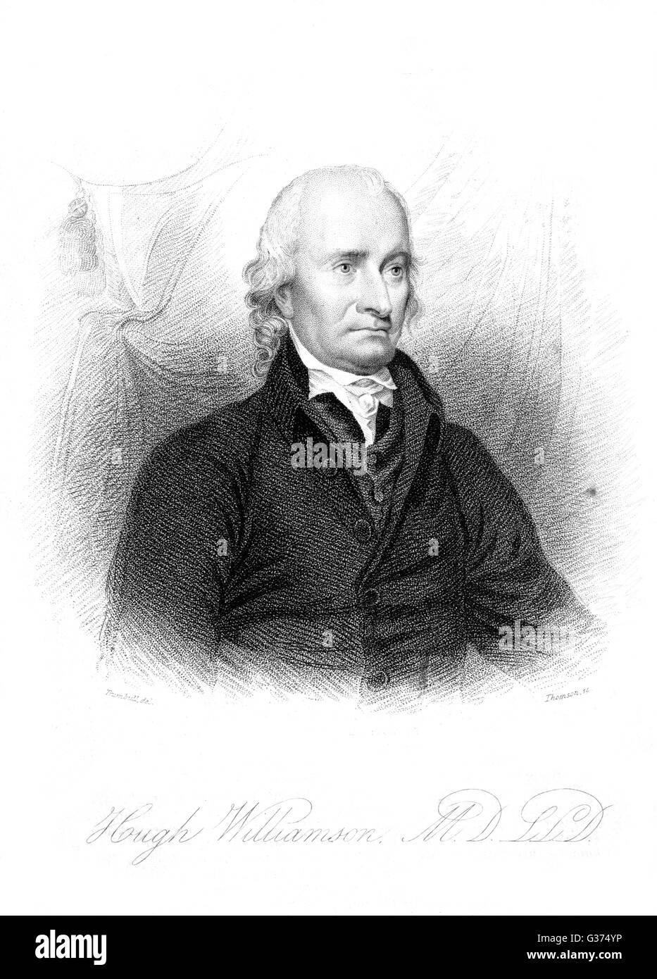 HUGH WILLIAMSON medical practitioner         Date: CIRCA 1823 - Stock Image