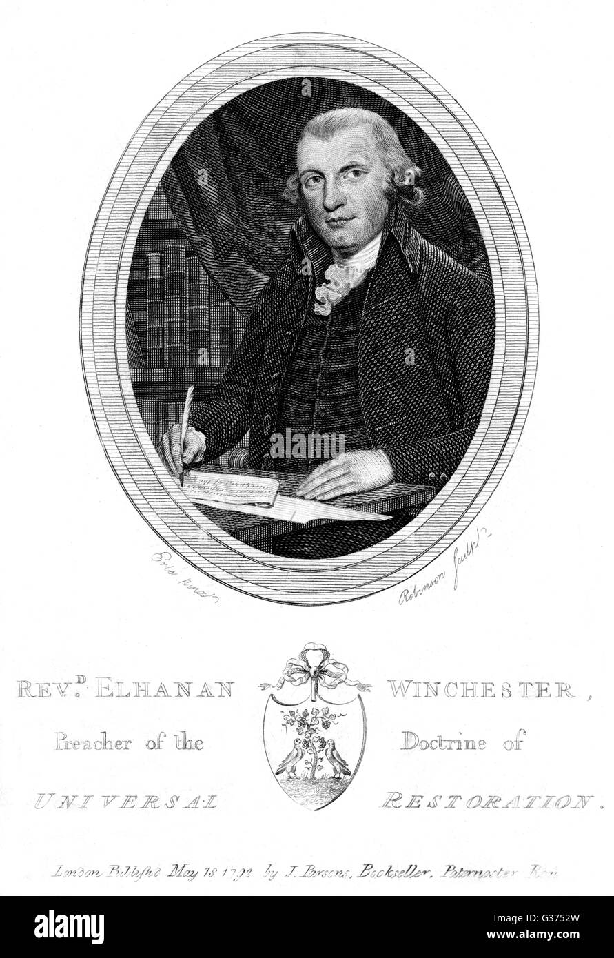 ELHANAN WINCHESTER churchman, preacher of the  Doctrine of Universal  Restoration.       Date: CIRCA 1792 - Stock Image