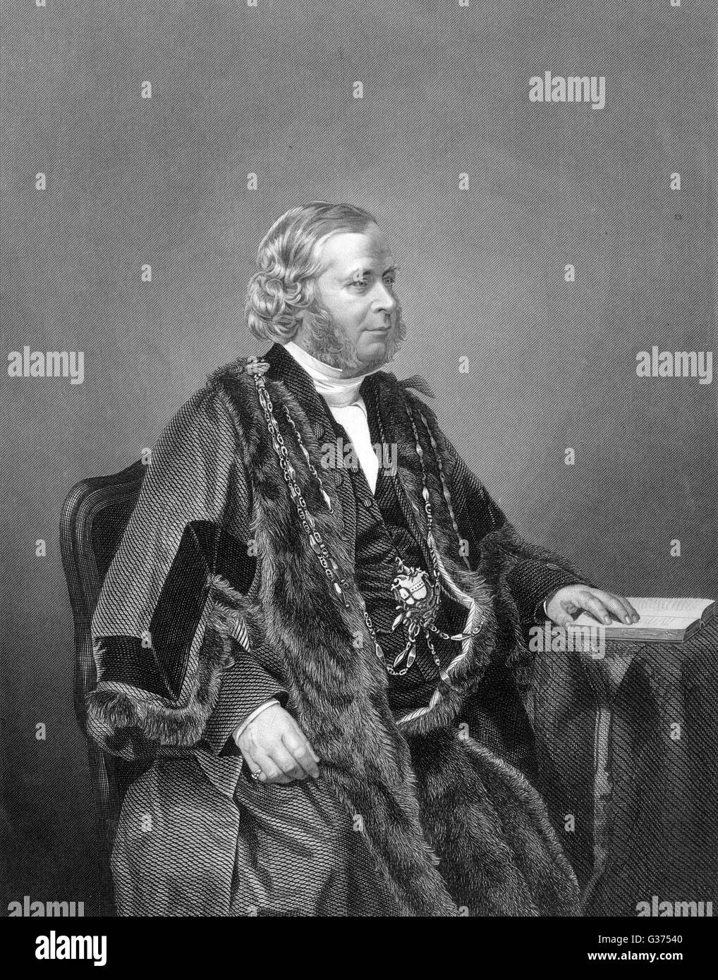 DAVID WILLIAMS WIRE Lord Mayor of London in 1858         Date: CIRCA 1858 - Stock Image