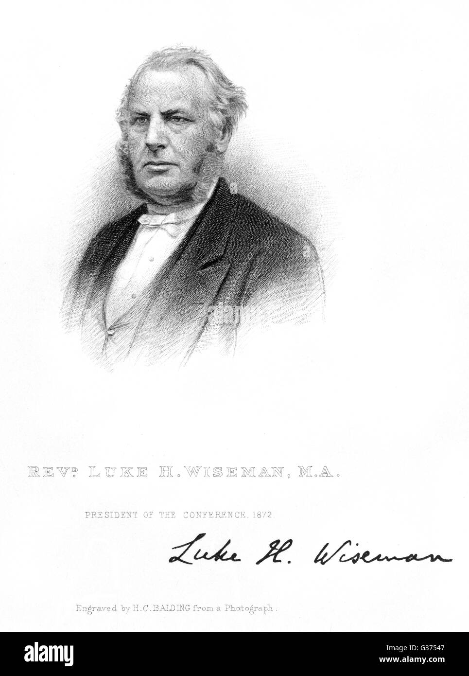 LUKE WISEMAN churchman, president of the  Wesleyan Conference 1872        Date: CIRCA 1872 - Stock Image