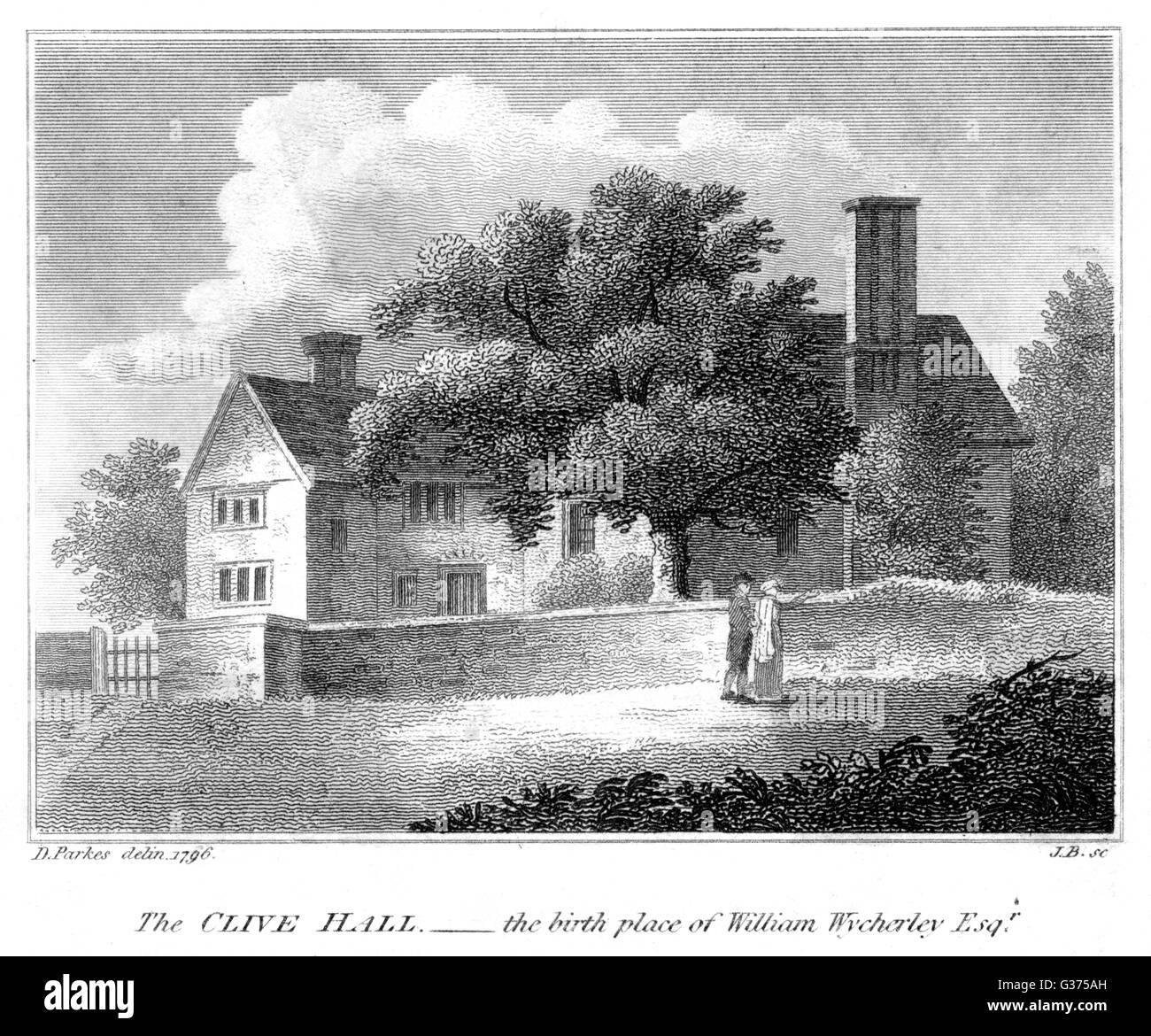 Playwright WILLIAM WYCHERLEY's  home at Clive Hall.         Date: 1640 - 1716 - Stock Image