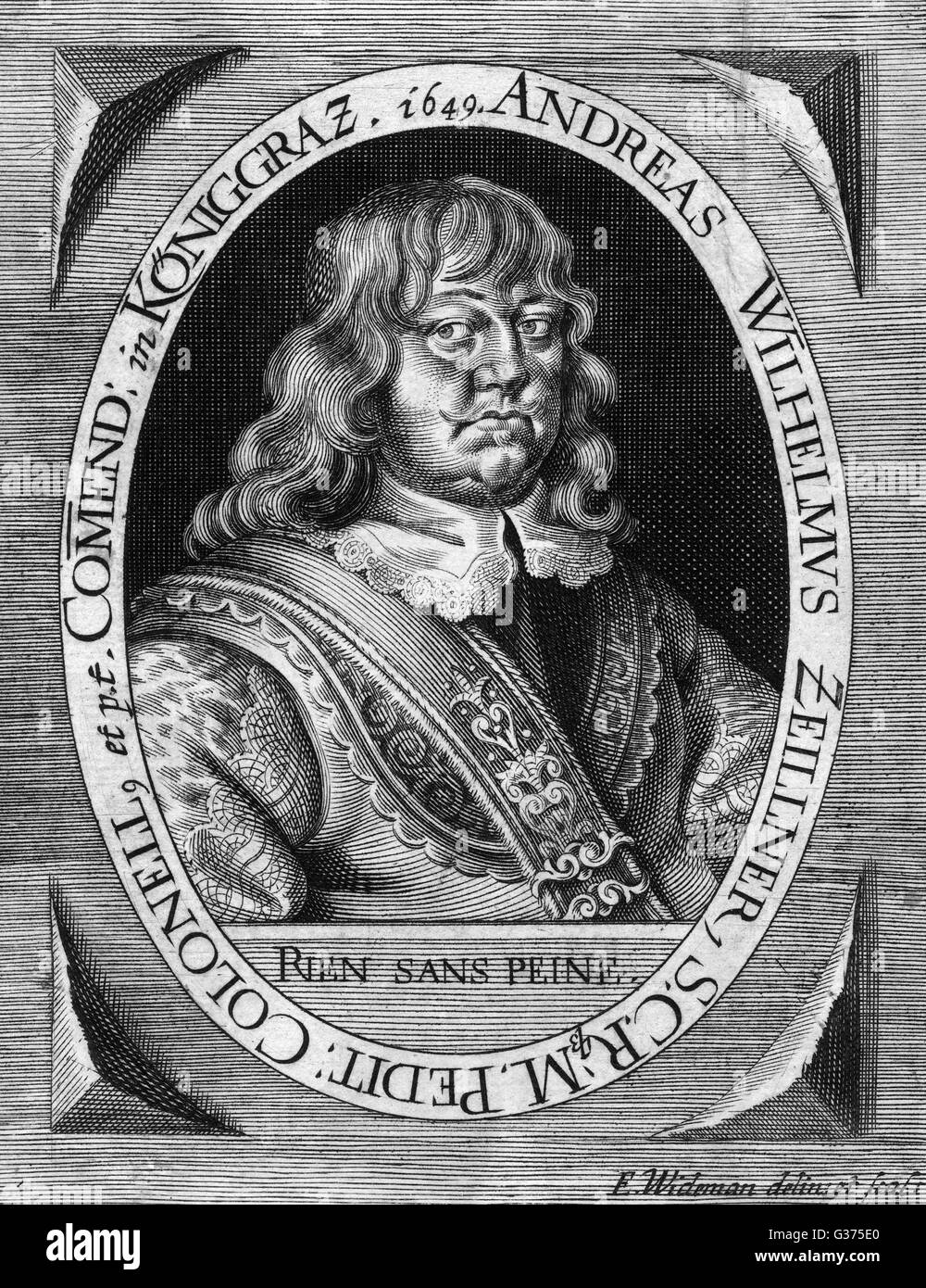 ANDREAS WILHELM ZEILLNER German military commander  whose motto was 'rien sans  peine' (nothing is obtained - Stock Image