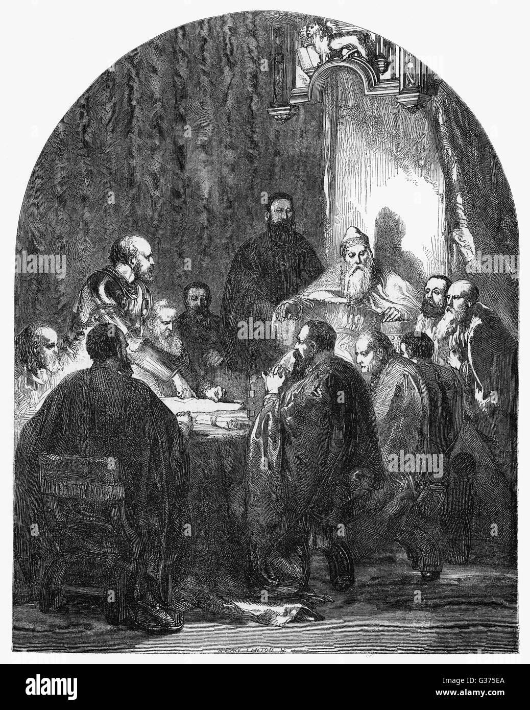 CARLO ZENO Venetian admiral, depicted  justifying his actions to the  Council of Ten.       Date: 1334 - 1410 - Stock Image