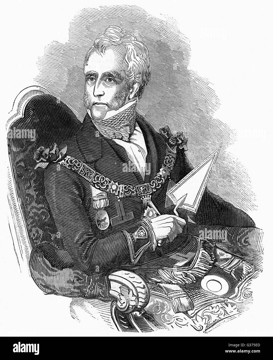 THOMAS DUNDAS, second earl of  ZETLAND prominent Freemason        Date: 1795 - 1873 - Stock Image