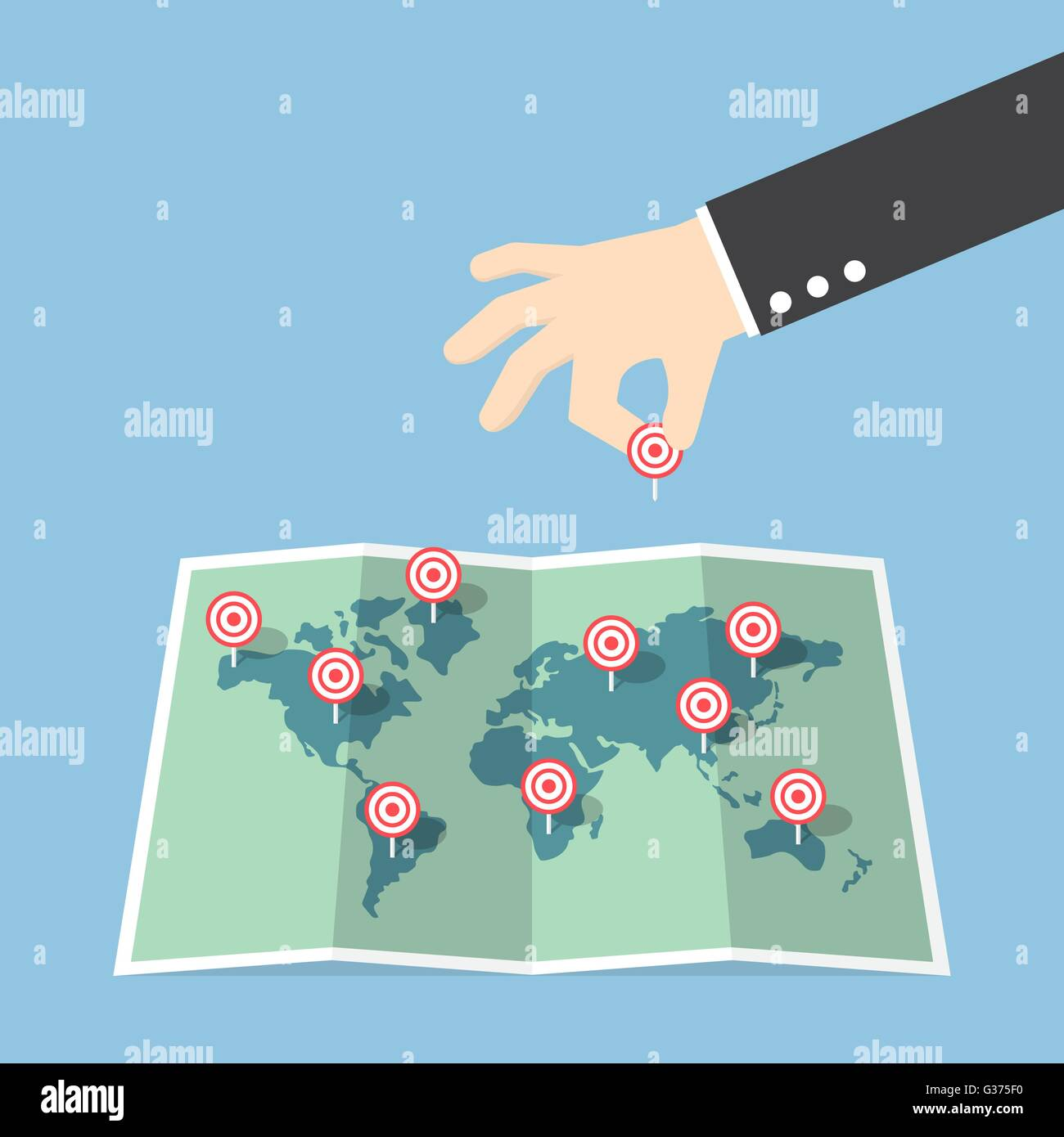 Businessman hand pin target to world map, VECTOR, EPS10 Stock Vector on