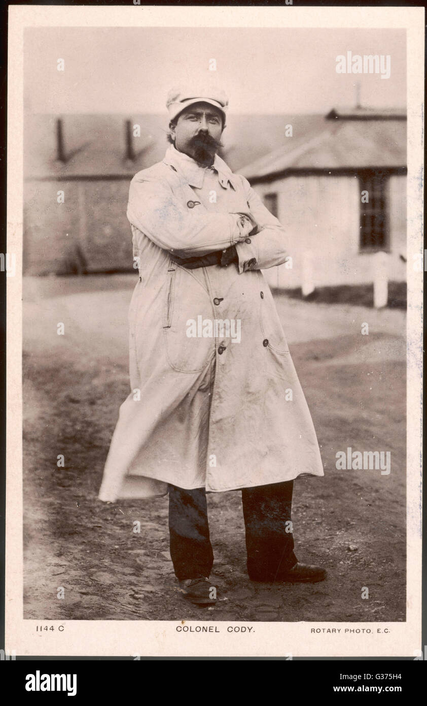 SAMUEL FRANKLIN CODY motorist and airman - he's  obviously dressed for one or  the other !       Date: 1861 - Stock Image
