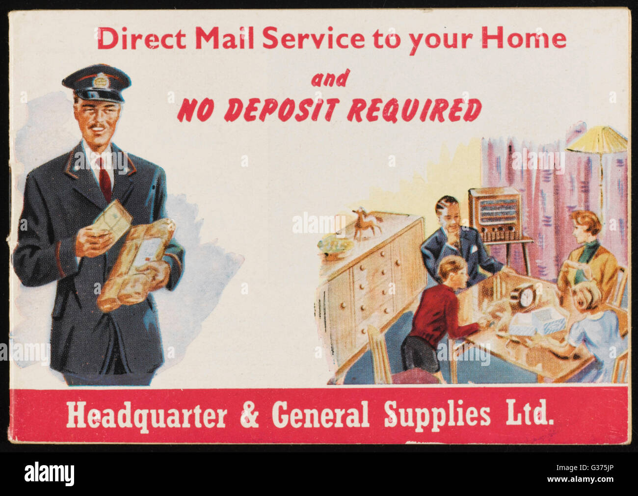 Direct Mail Service to your  Home - clothing, tableware and  household goods from  Headquarters & General - Stock Image