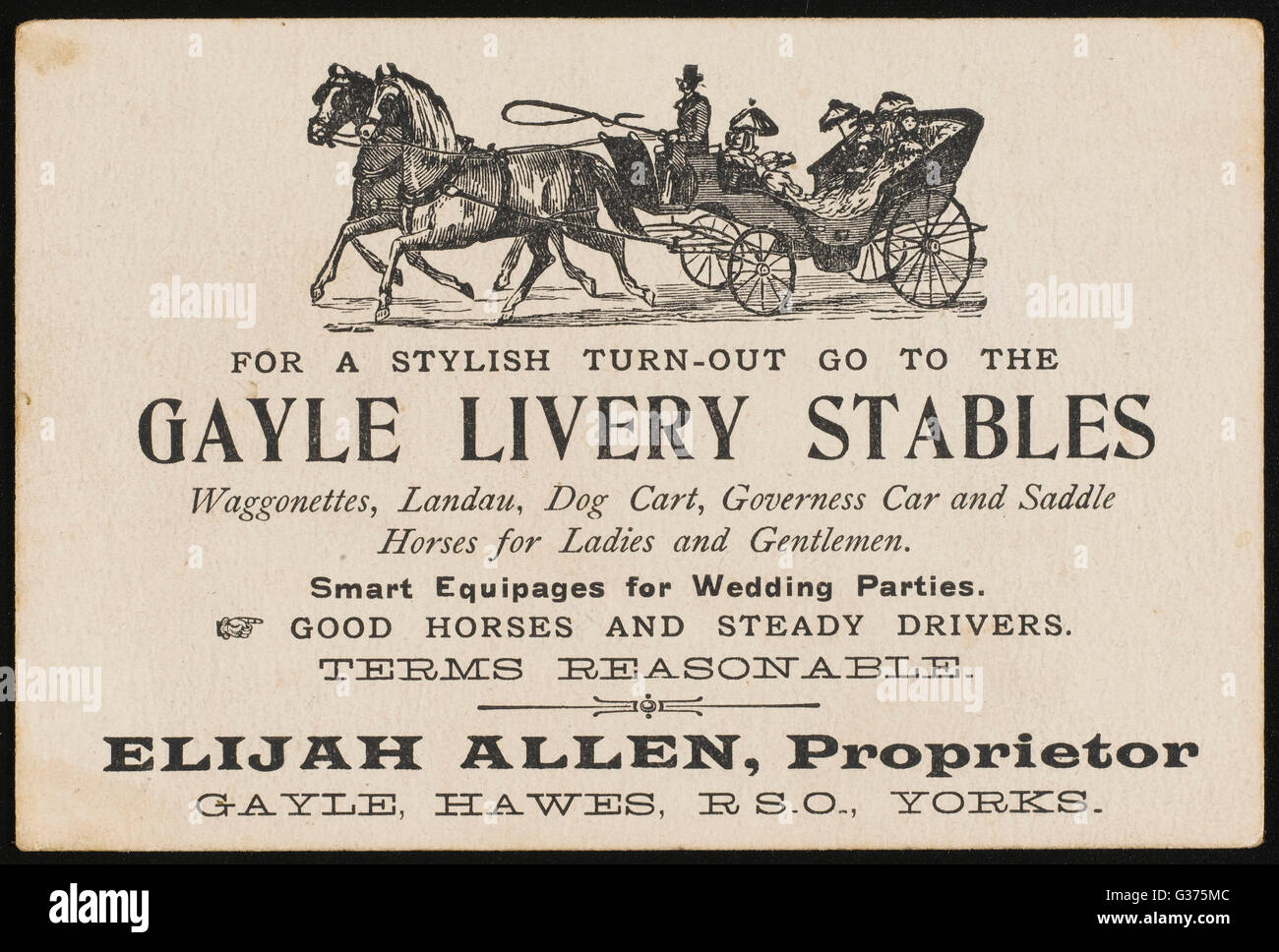 At a livery stable you can  hire a waggonette, a landau, a  dog cart, a governess car or a  saddle horse - smart - Stock Image