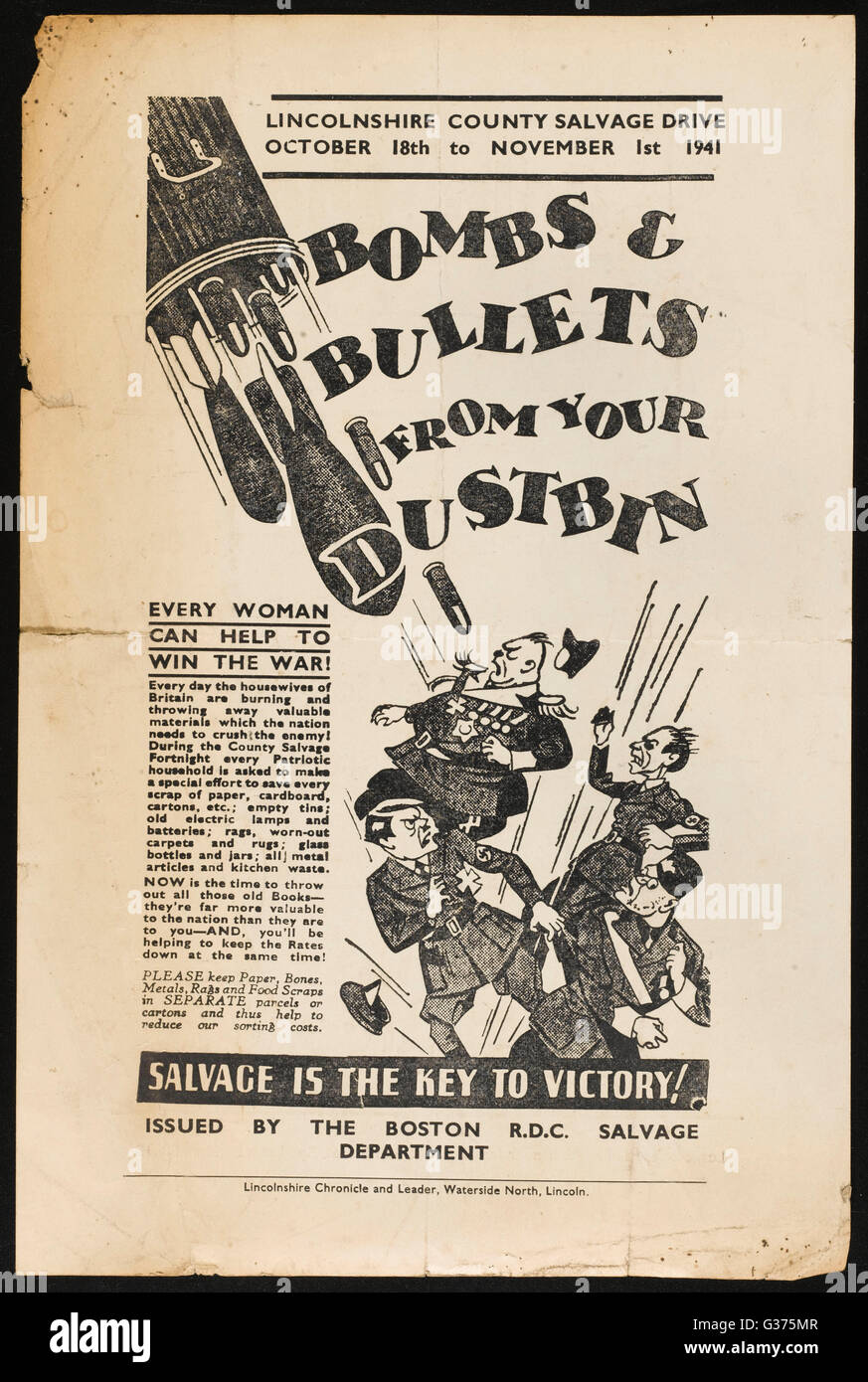 'BOMBS AND BULLETS FROM YOUR  DUSTBIN - Every Woman can help  to Win the War - every  Patriotic household is - Stock Image