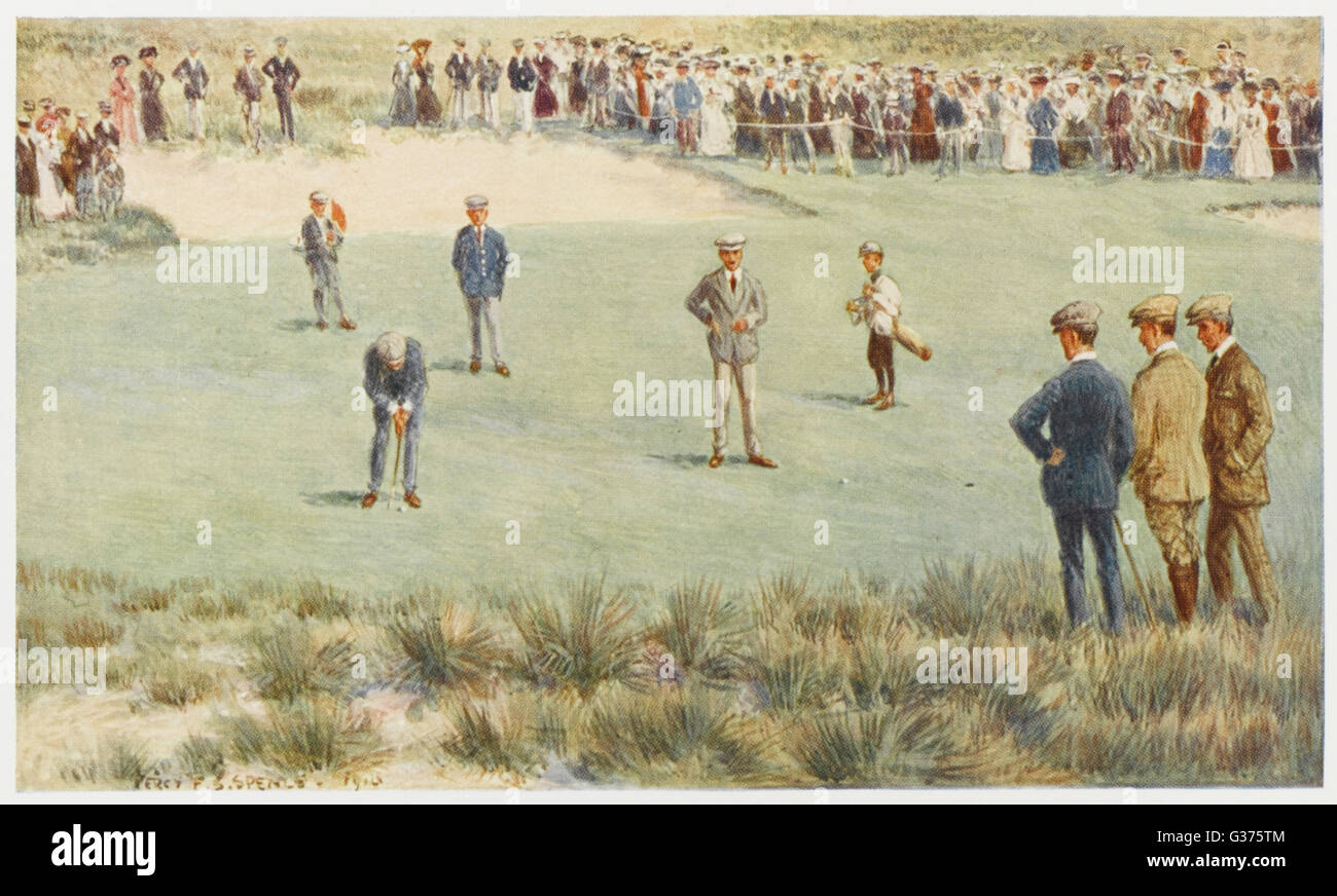 A tense moment during a  championship match at the  Royal Sydney Golf Club links,  Australia.       Date: 1910 - Stock Image