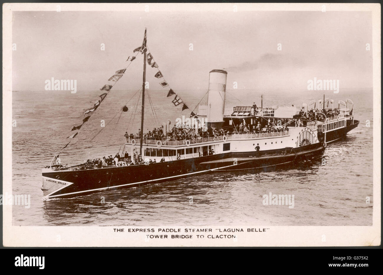 Express paddle steamer plying  the Thames between Tower  Bridge and Clacton.        Date: circa 1920 ? - Stock Image