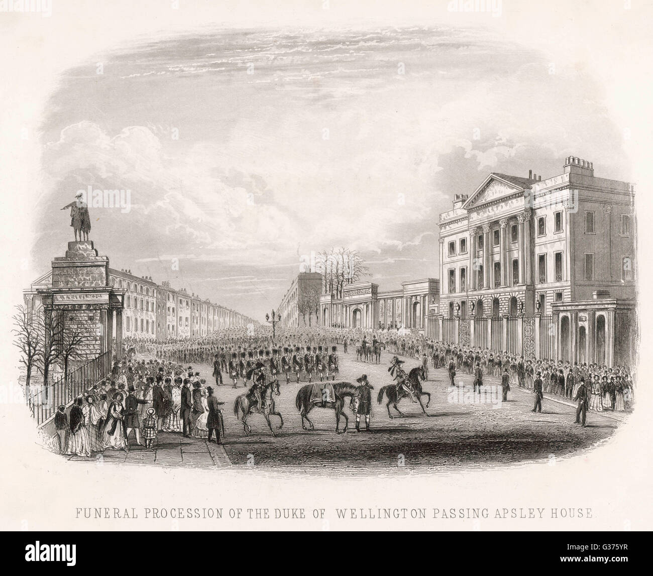 The funeral procession of the  duke of Wellington starts at  his house at Hyde Park Corner,  and passes through - Stock Image