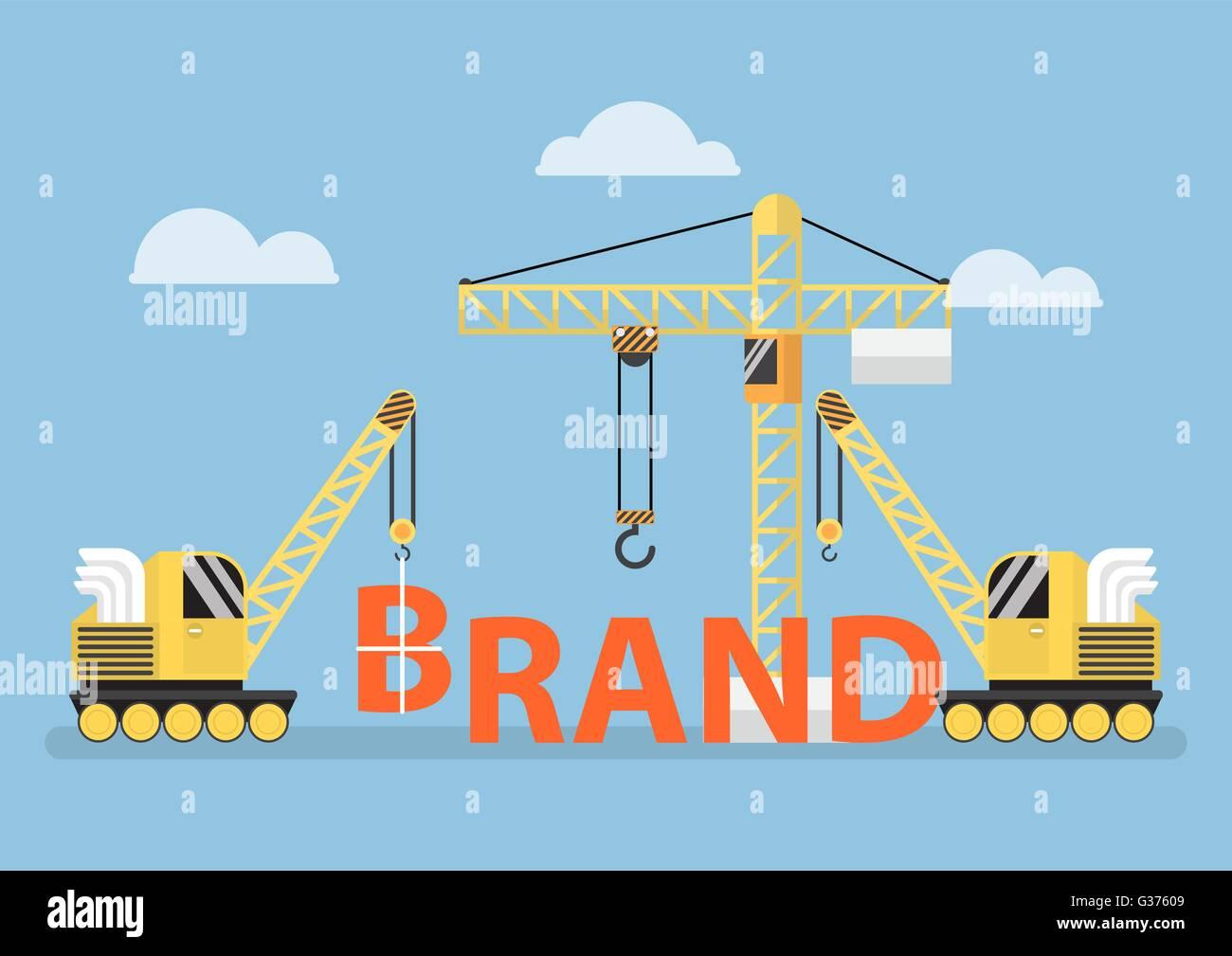 Construction site crane building big brand word, brand building concept, VECTOR, EPS10 - Stock Image