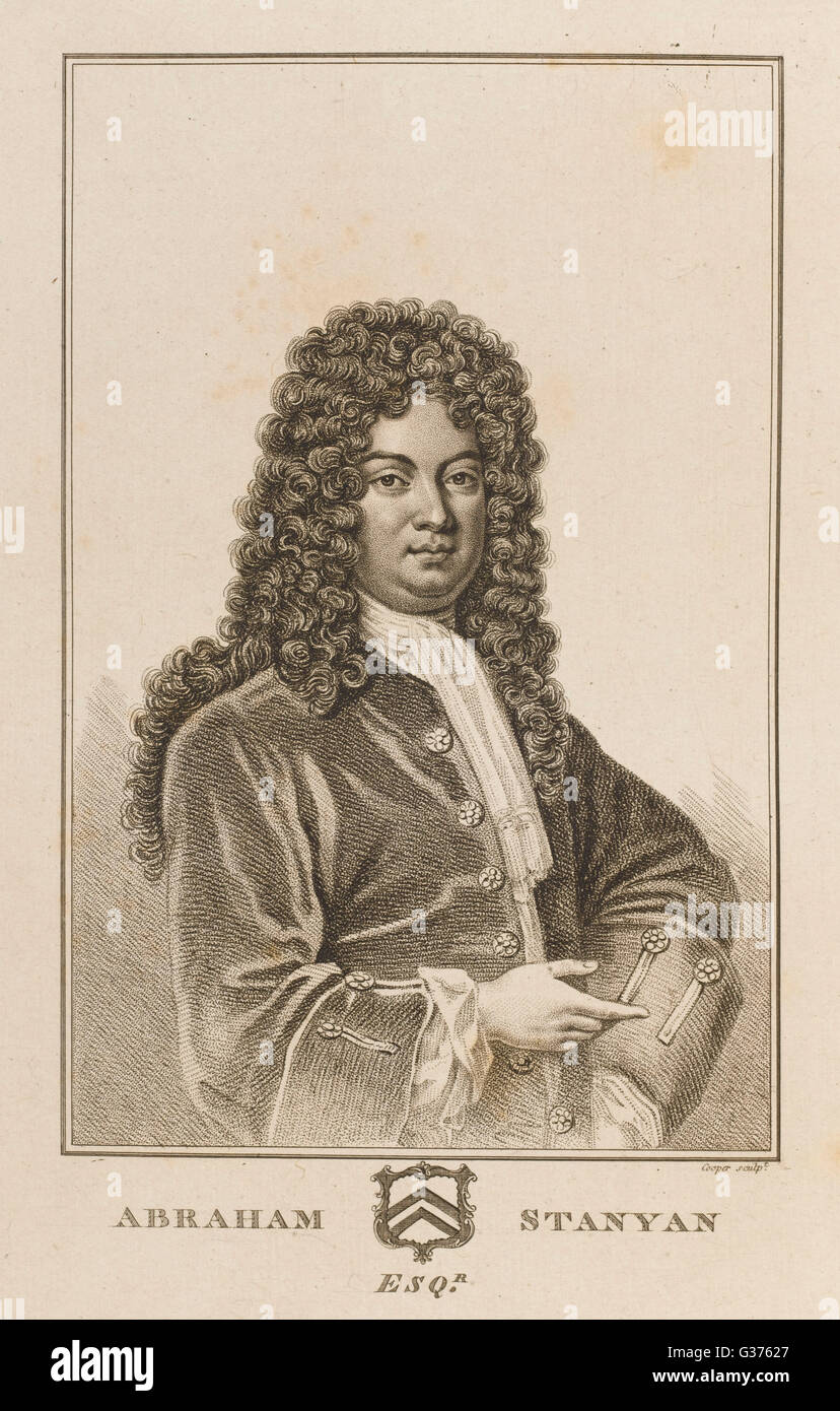 ABRAHAM STANYAN diplomat and statesman, who  wrote an account of  Switzerland.       Date: 1669 - 1732 - Stock Image