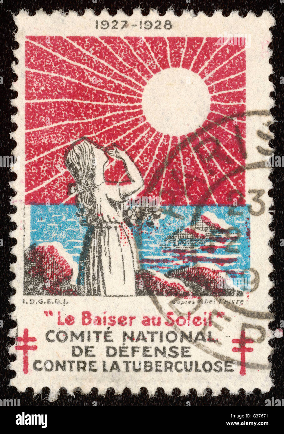 French postage stamp promoting  sunlight to fight  tuberculosis.        Date: 1927-1928 - Stock Image