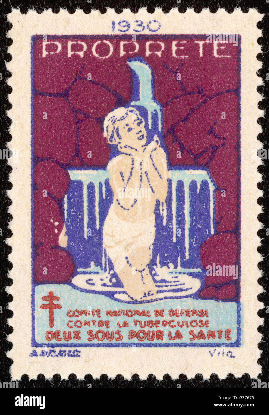 French postage stamp promoting  washing and cleanliness to  fight tuberculosis.        Date: 1938 - Stock Image