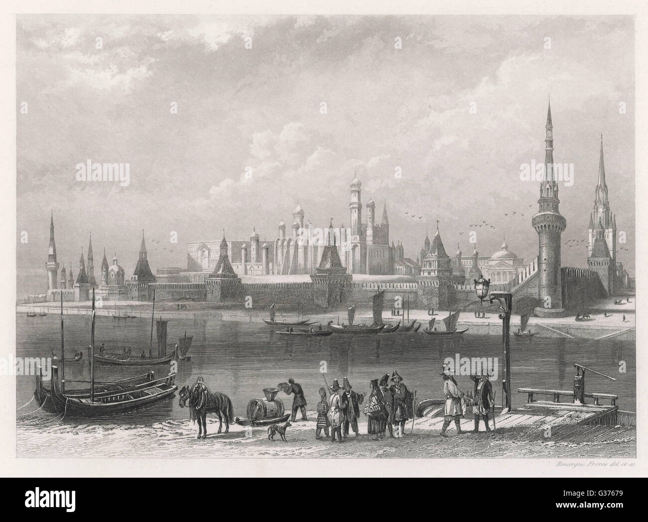 A wintry view of the Kremlin,  seen across the Moskva river         Date: circa 1840 - Stock Image