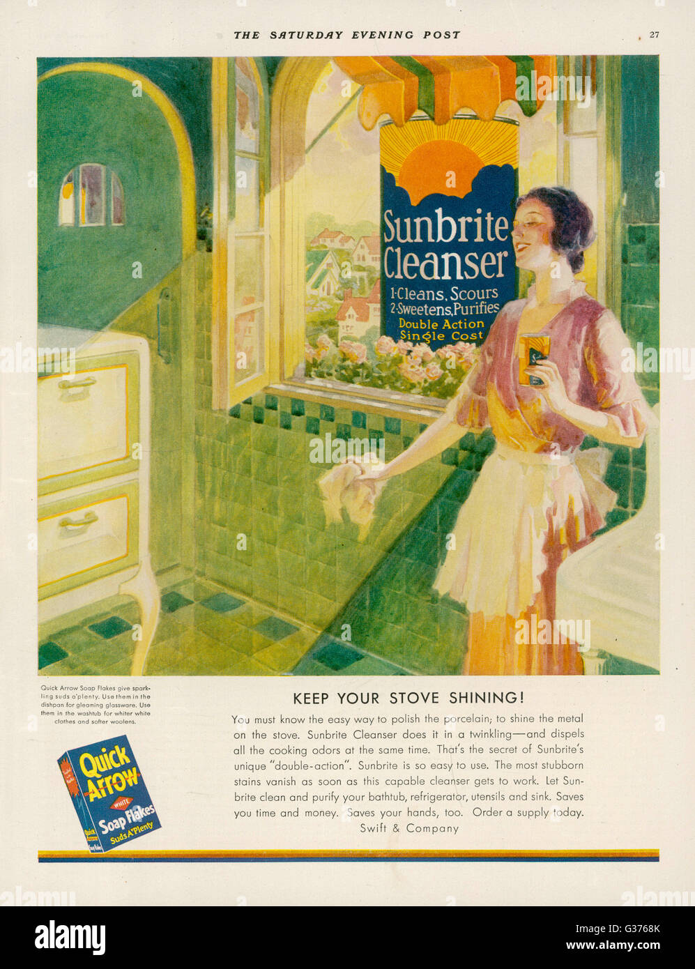 'Keep your stove shining...  with QUICK ARROW SOAP FLAJES -  Suds a'plenty !'        Date: 1931 - Stock Image